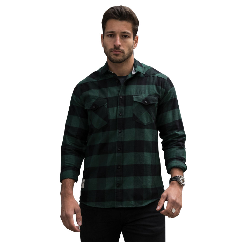 Red Torpedo Men's V-Twin Green Flannel Button Down Shirt