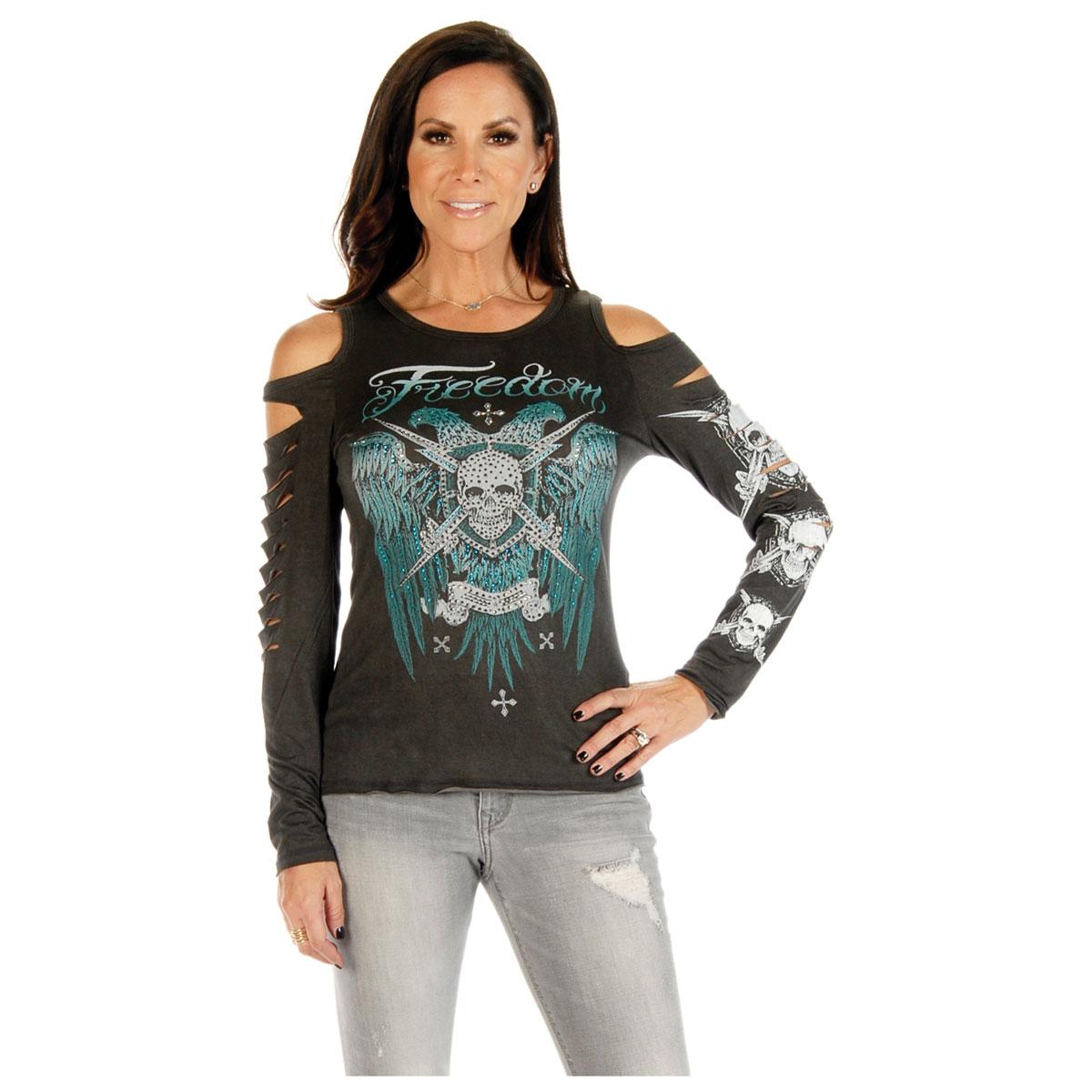 Liberty Wear Women's Tread Lightly Charcoal Long-Sleeve Shirt