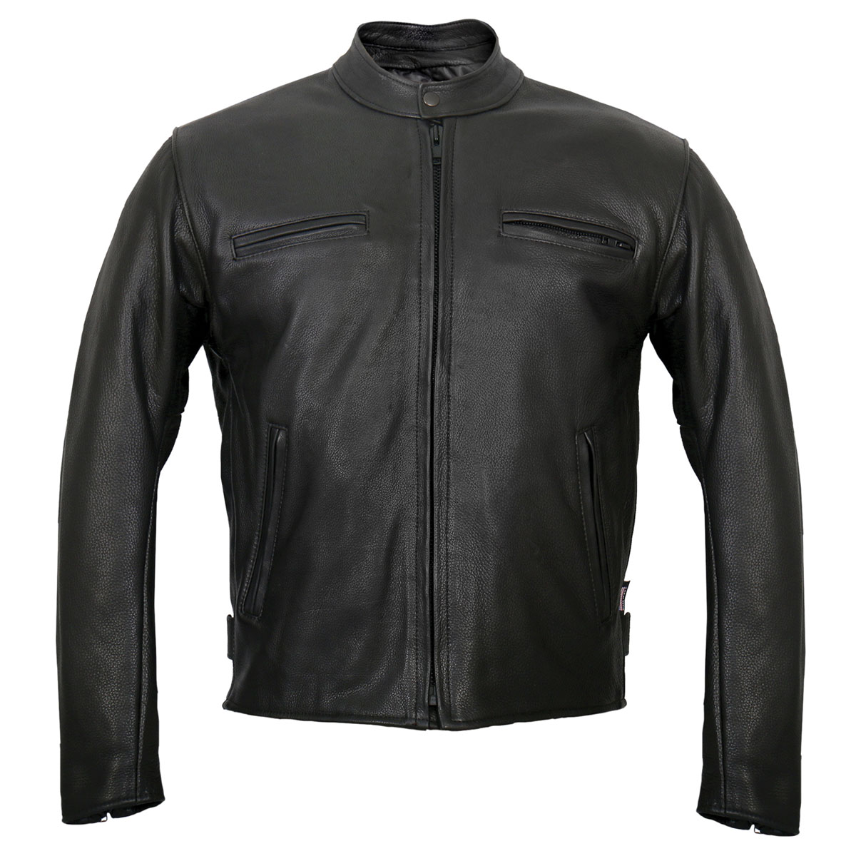 Hot Leathers Men's USA Made Racer Black Leather Jacket