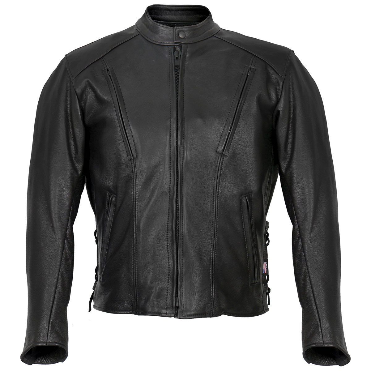Hot Leathers Men's USA Made Side Lace Black Leather Jacket
