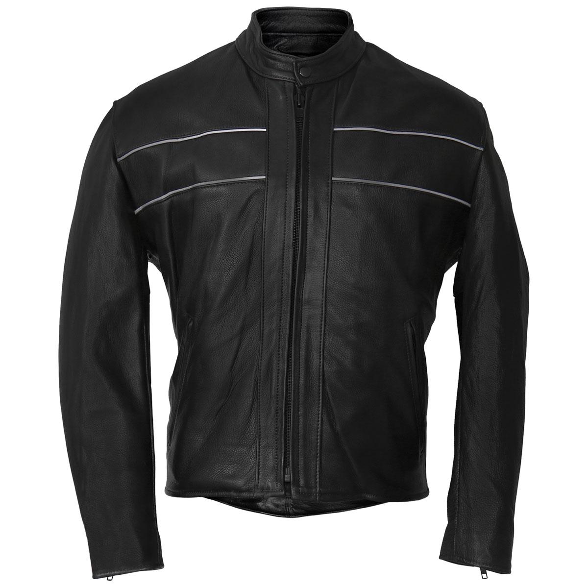 Hot Leathers Men's USA Made Reflective Black Leather Jacket