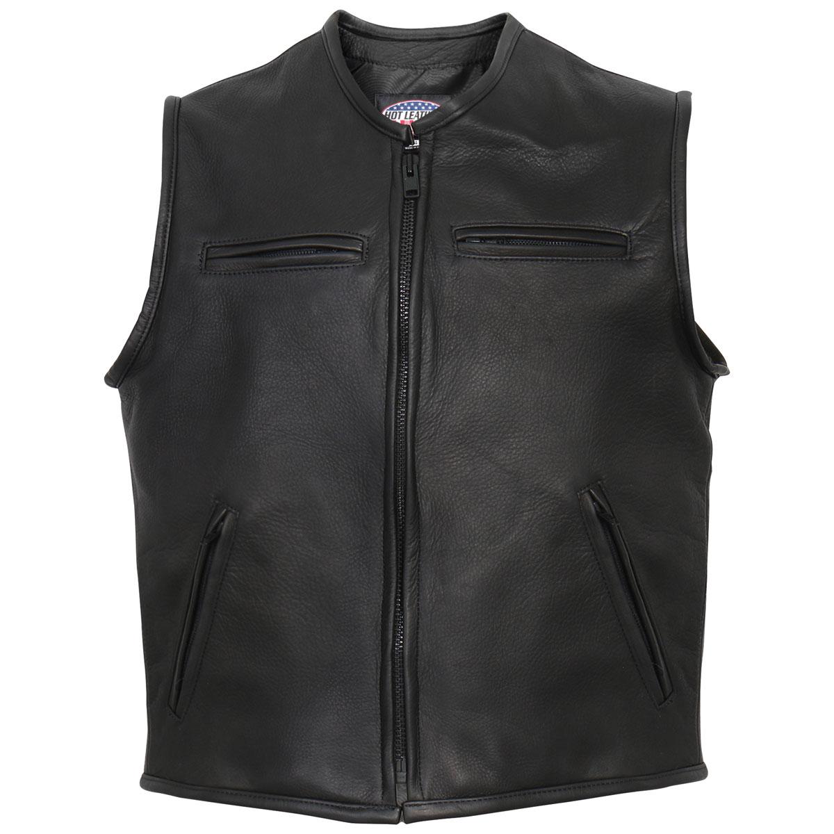 Hot Leathers Men's USA Made Steerhide Black Leather Vest
