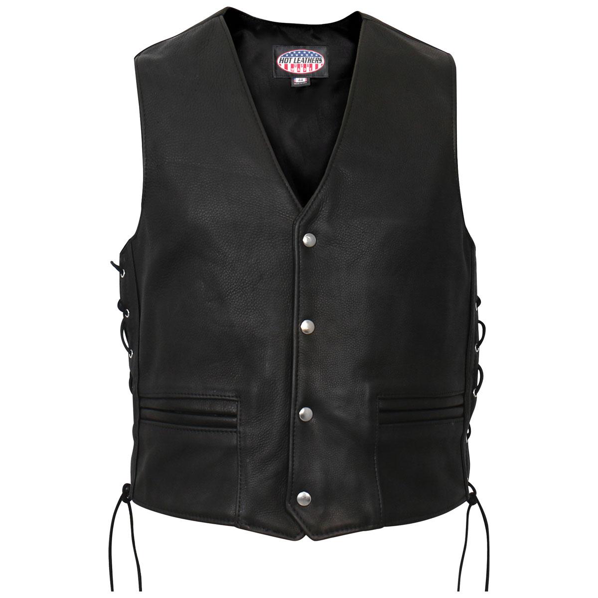 Hot Leathers Men's USA Made Long Length Black Leather Vest