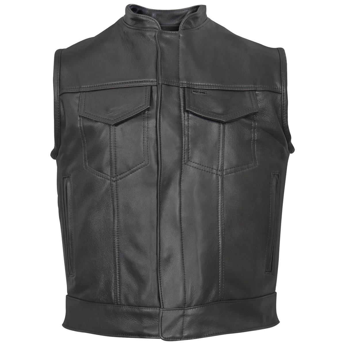 Hot Leathers Men's USA Made Concealed Zipper Black Leather Vest