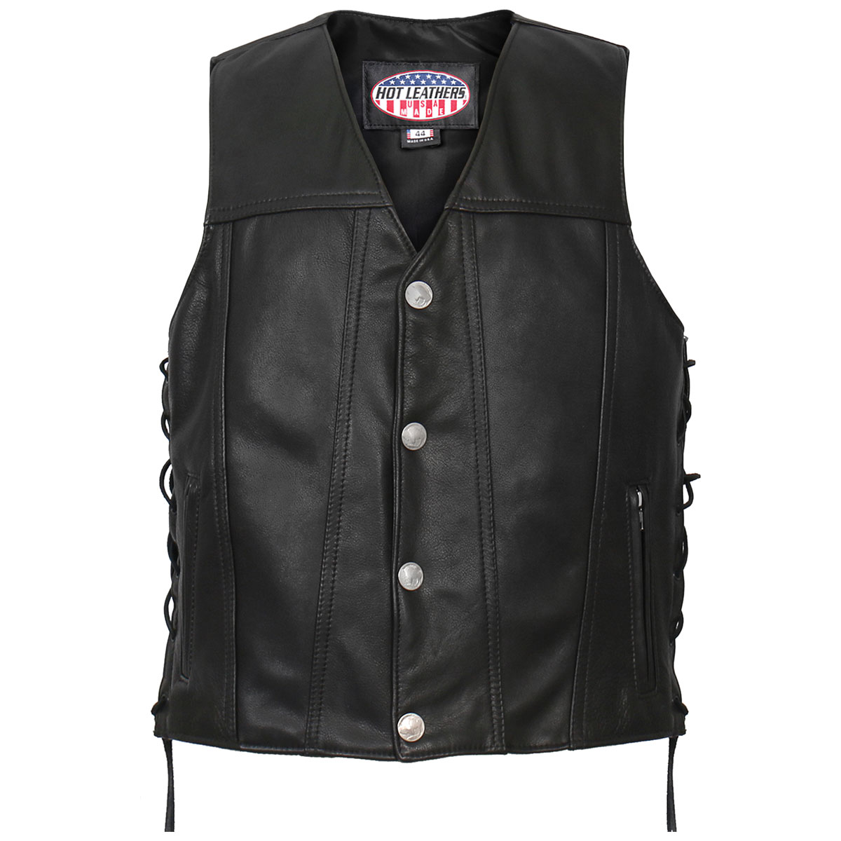 Hot Leathers Men's USA Made Buffalo Nickel Snap Black Leather Vest