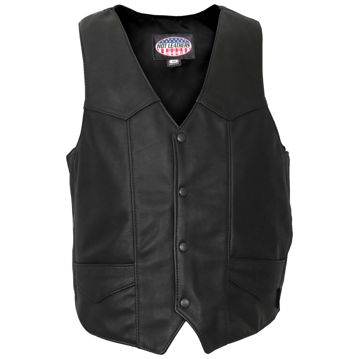 Hot Leathers Men's USA Made Classic Black Leather Vest