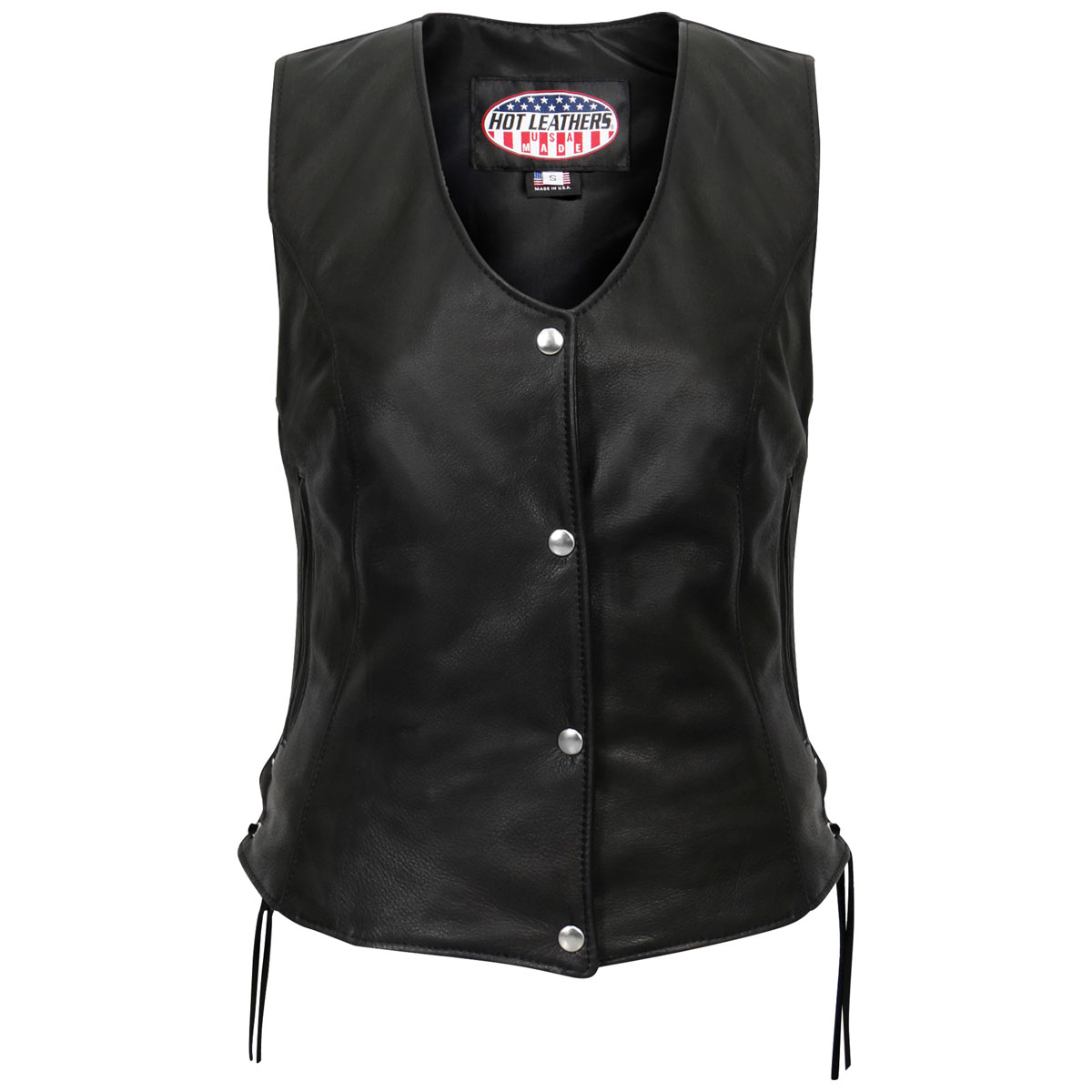 Hot Leathers Women's USA Made Side Lace Black Leather Vest