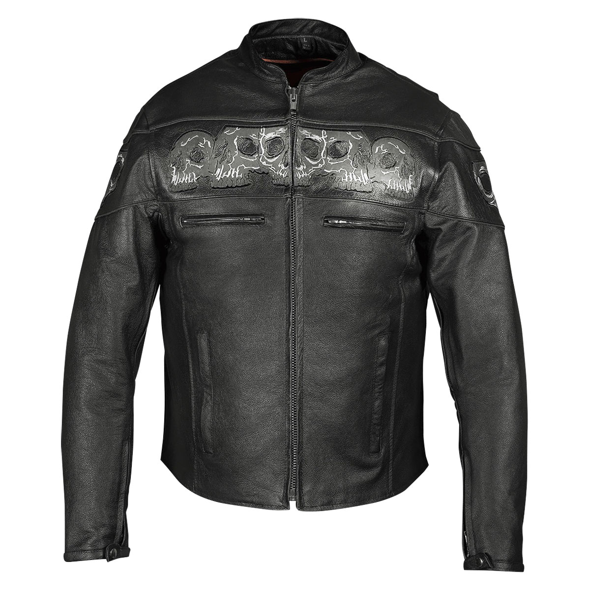 Vance Leathers Men's Reflective Skulls Black Leather Jacket