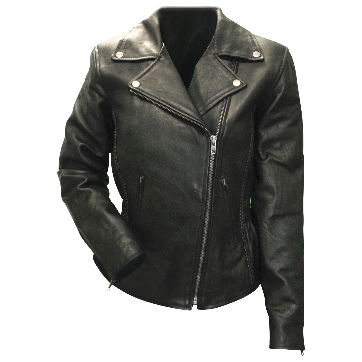Vance Leathers Women's Braid and Stud Black Leather Jacket