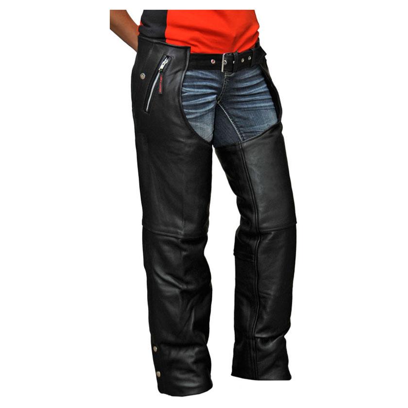 Vance Leathers Unisex Four Pocket Black Leather Chaps