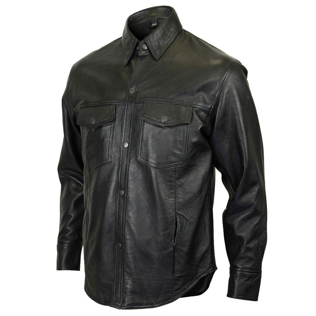 Vance Leathers Men's Lambskin Black Leather Shirt