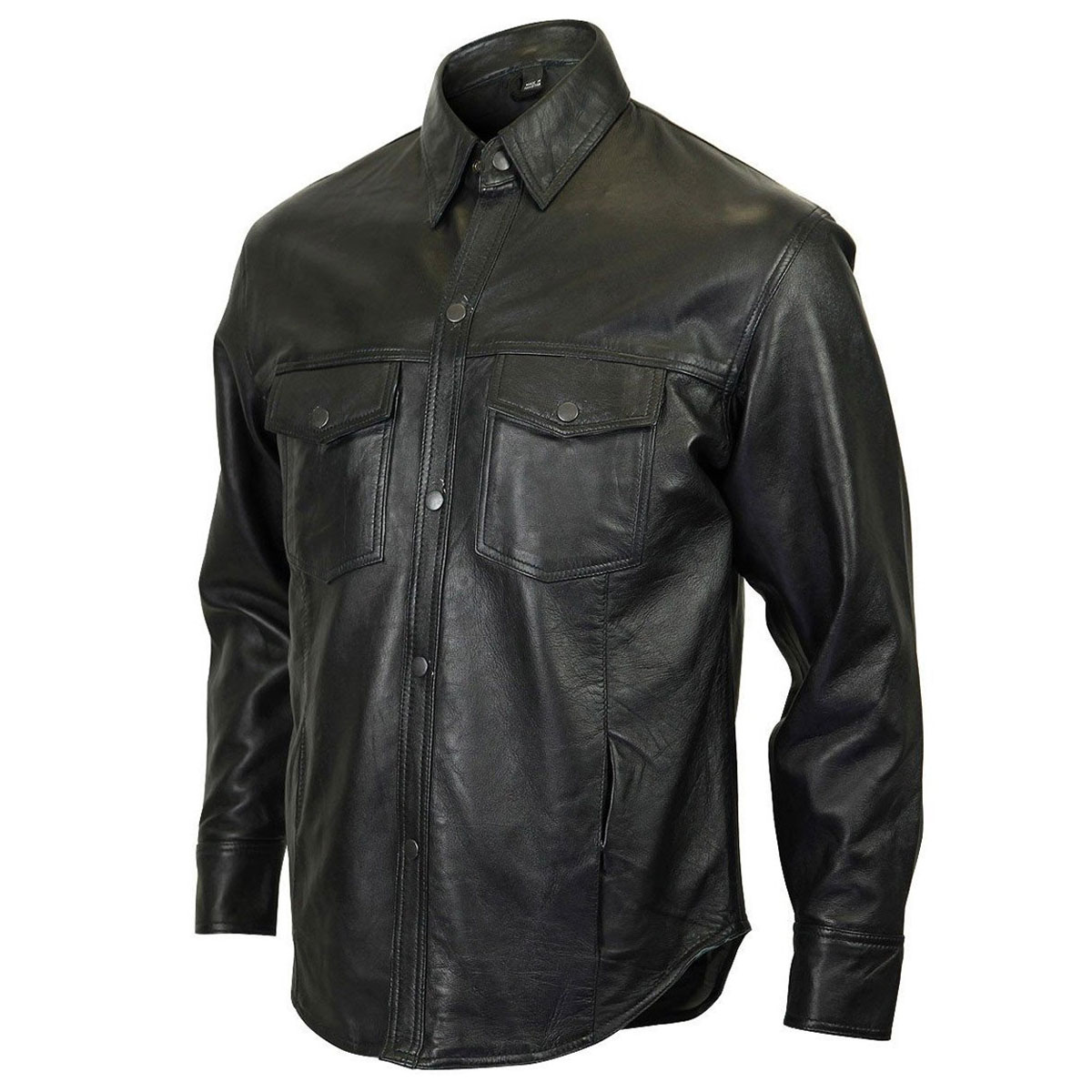 3fe766b76 Vance Leathers Men's Lambskin Black Leather Shirt - HMM504-5X
