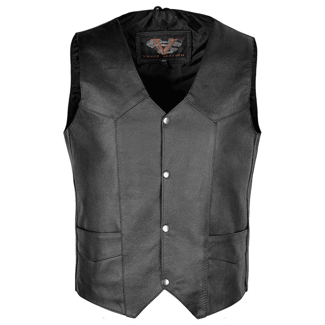 Vance Leathers Men's Plain Side Black Leather Vest