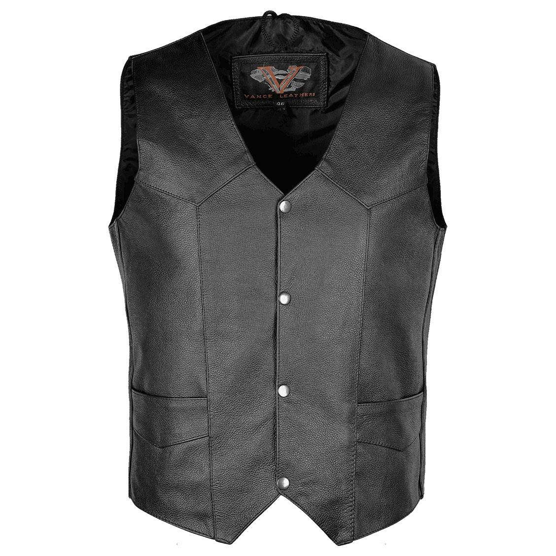 Vance Leathers Men's Plain Side Black Leather Vest