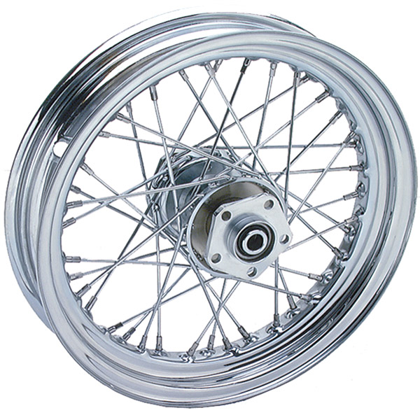 V-Twin Manufacturing Chrome 40 Spoke Rear Wheel Assembly, 16
