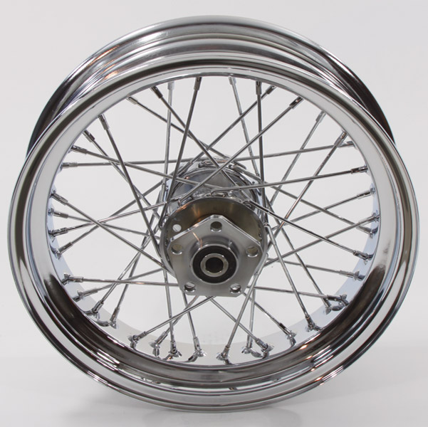 V-Twin Manufacturing 40-Spoke Complete Chrome Rear Wheel Assembly, 16