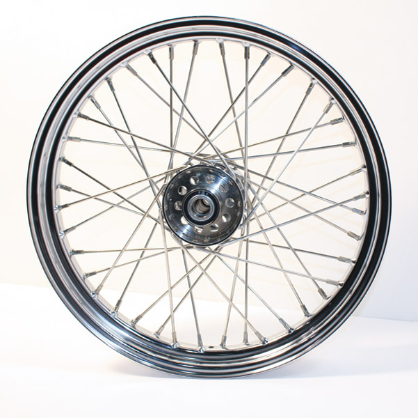 V-Twin Manufacturing Replica 40 Spoke Star Hub Stainless Front Wheel, 19 x 2.15