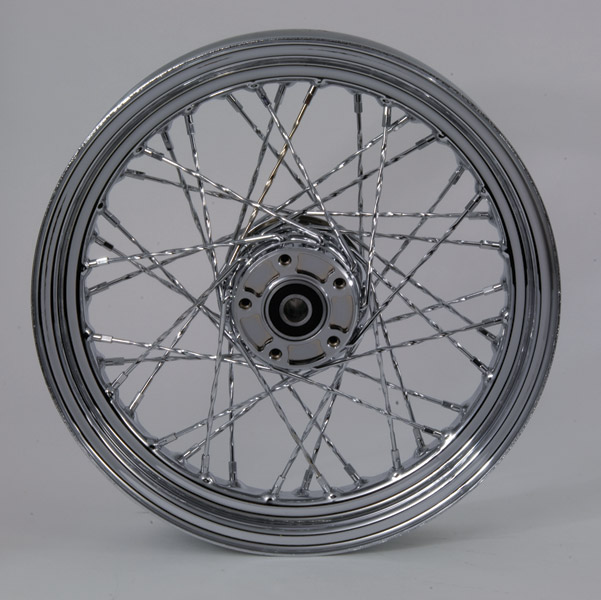 V-Twin Manufacturing Chrome Twisted Spoke Front Wheel 16 x 3.00