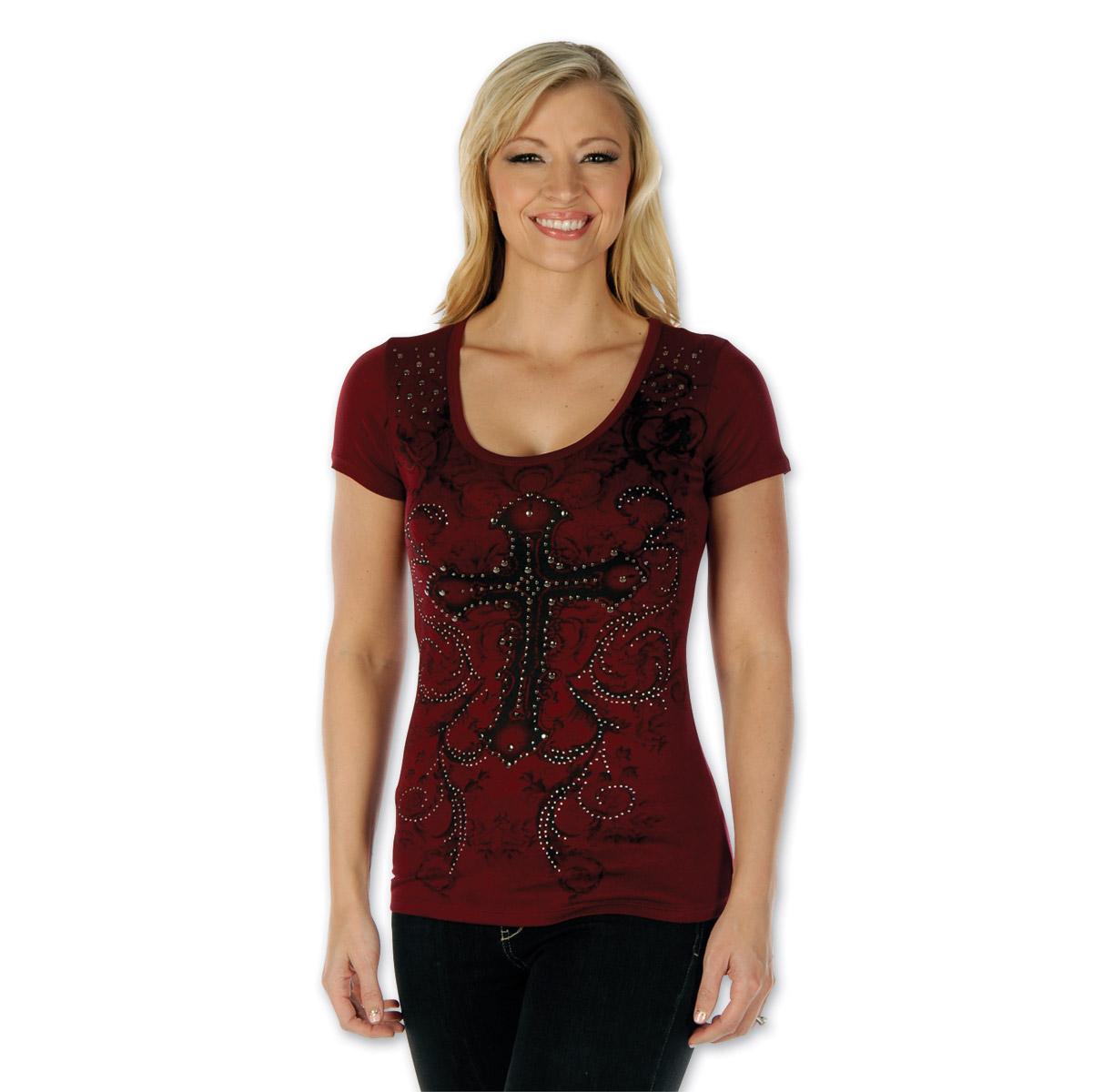 best sell Good Prices on feet shots of Liberty Wear Women's Jeweled Cross Burgundy T-Shirt - 7151-BURG-XL