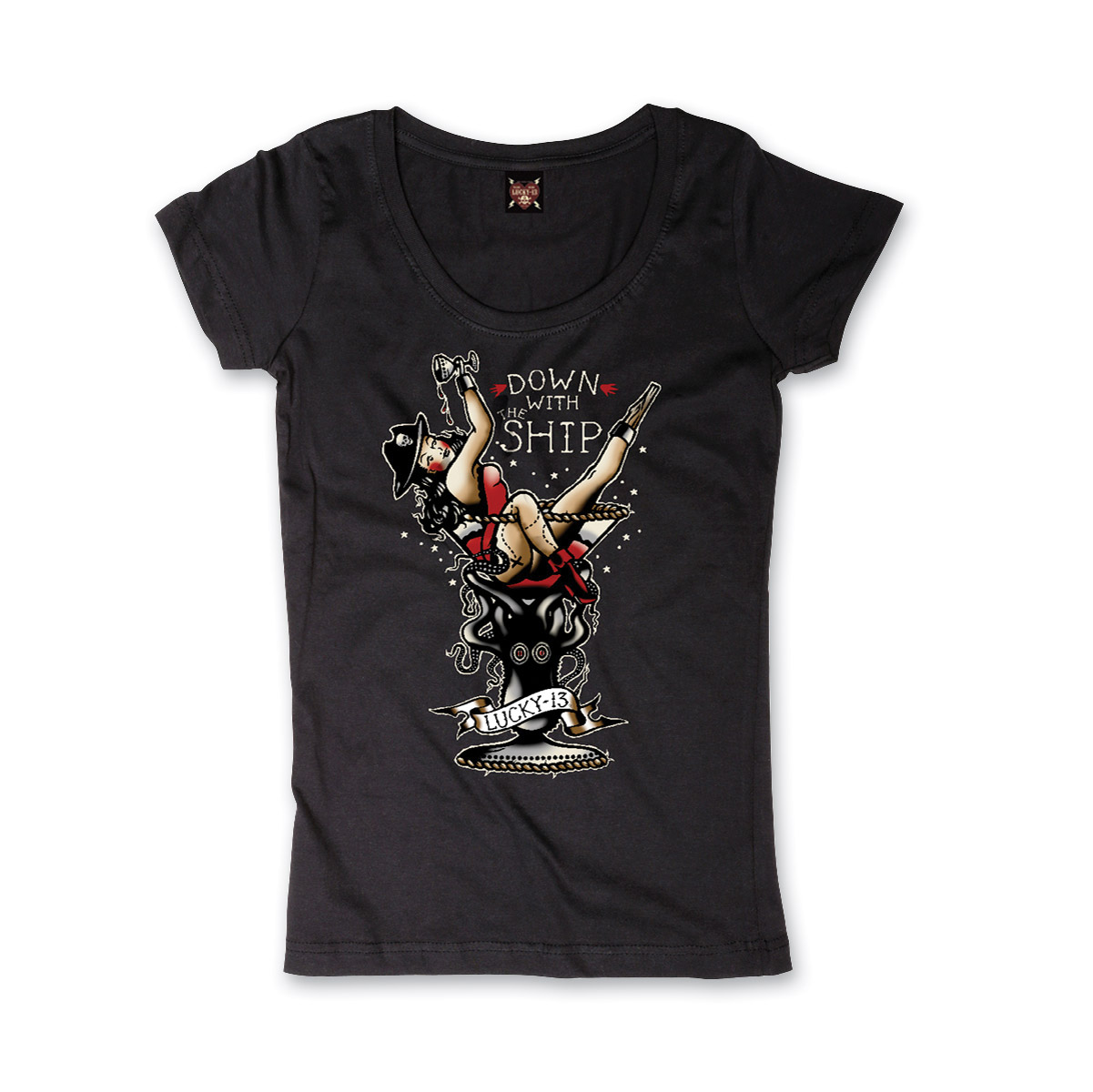 Lucky-13 Women's Down With The Ship Black T-Shirt