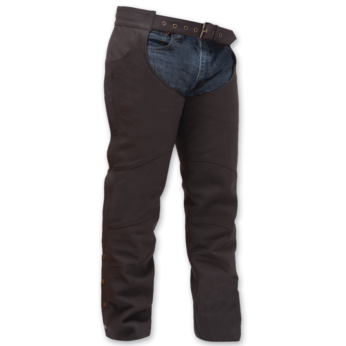 First Manufacturing Co. Unisex Stallion Brown Leather Chaps
