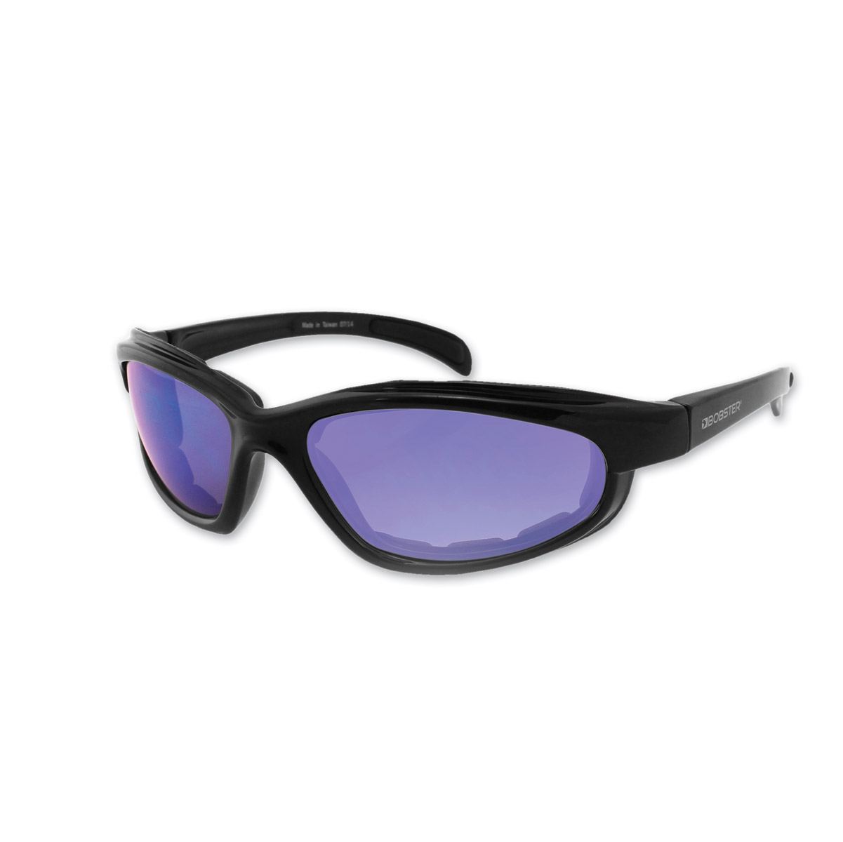 Bobster Fat Boy Black Frame Sunglasses w/Smoked Blue Mirror Lenses
