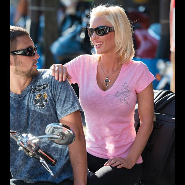 Easyriders Ladies Peek-a-Boo Laser Wings Pink T-Shirt