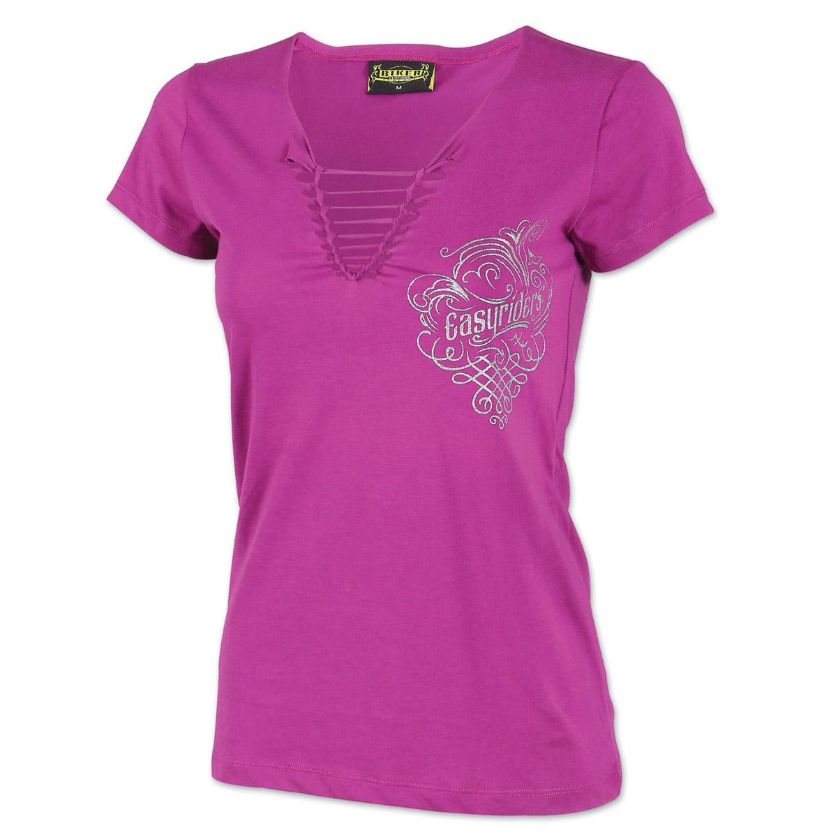 Easyriders Women's Flowing Metal Braid Purple V-Neck T-Shirt