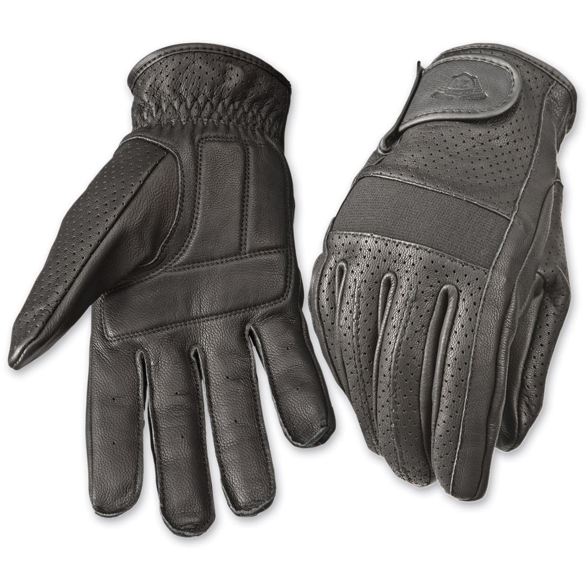 Highway 21 Men's Jab Perforated Black Leather Gloves