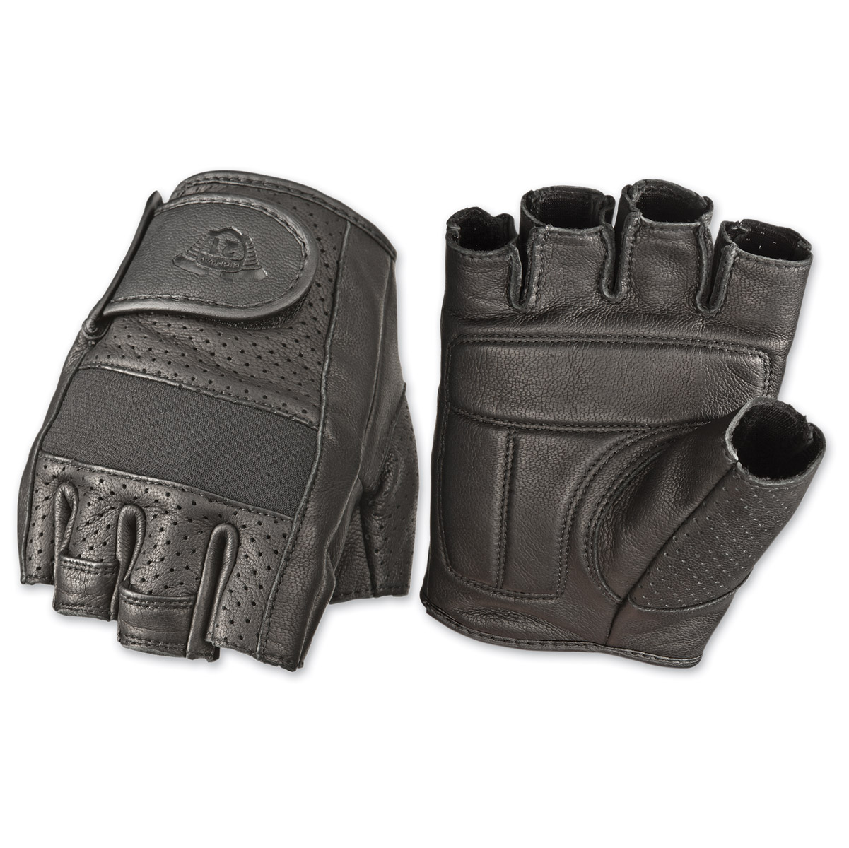 Highway 21 Men's Jab Perforated Fingerless Black Leather Gloves