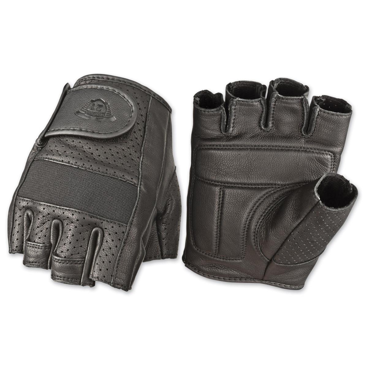 Highway 21 Men's Jab Perforated Fingerless Black Leather Gloves