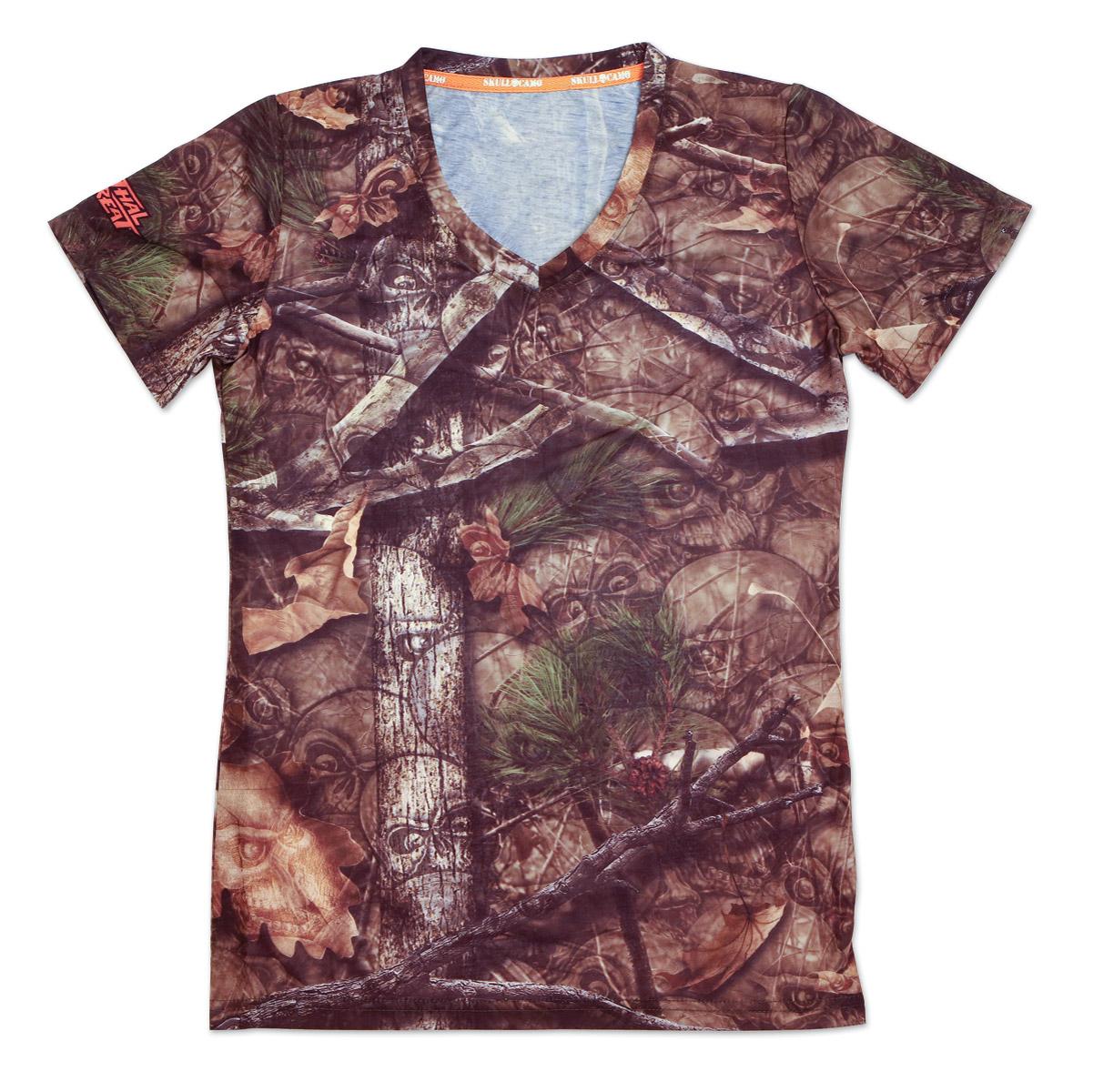 Lethal Threat Women's Backwoods Skull Camo V-Neck T-Shirt