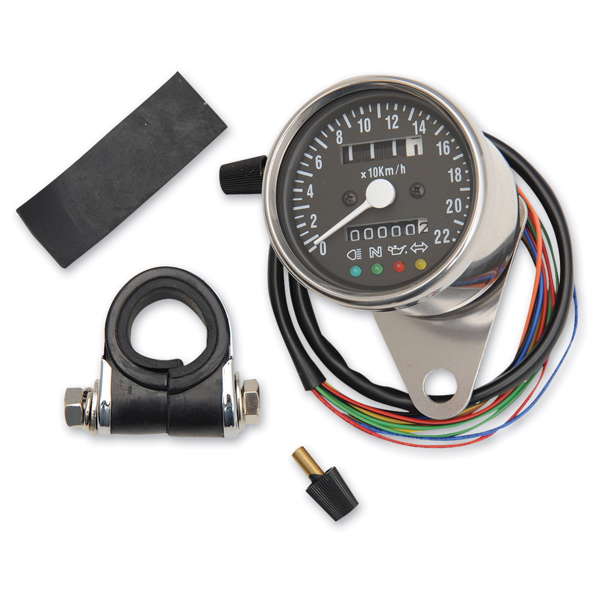 Drag Specialties Mini Mechanical KPH Speedometer with LED Indicators