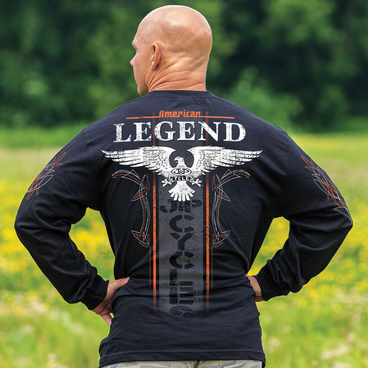 J&P Cycles® Men's Winged Stripe Black Long-Sleeve T-Shirt
