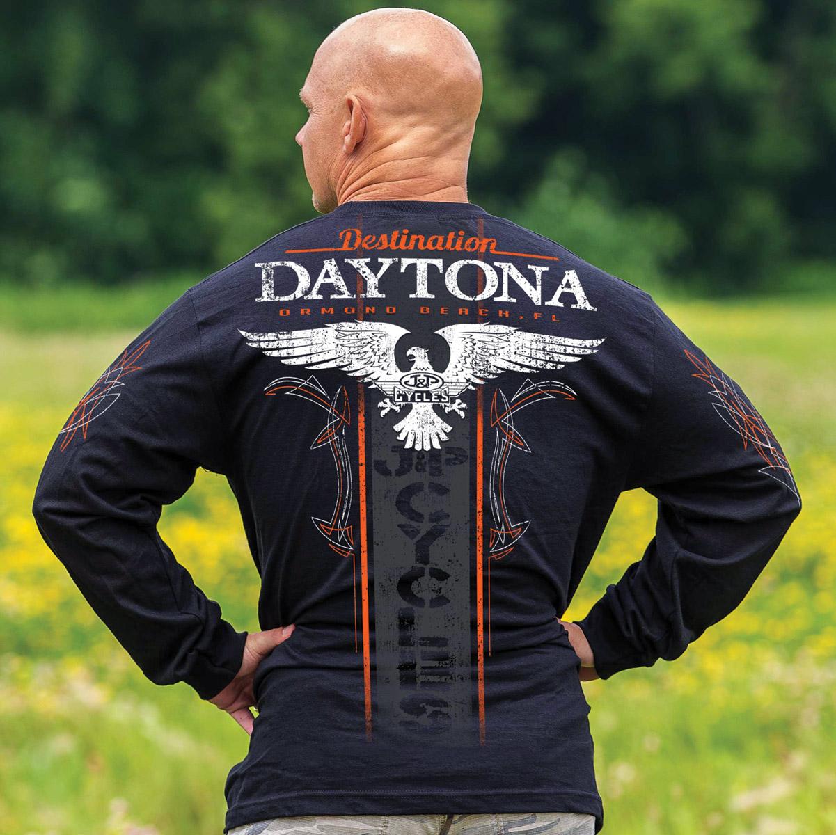J&P Cycles® Daytona Winged Stripe Black Long-Sleeve T-Shirt