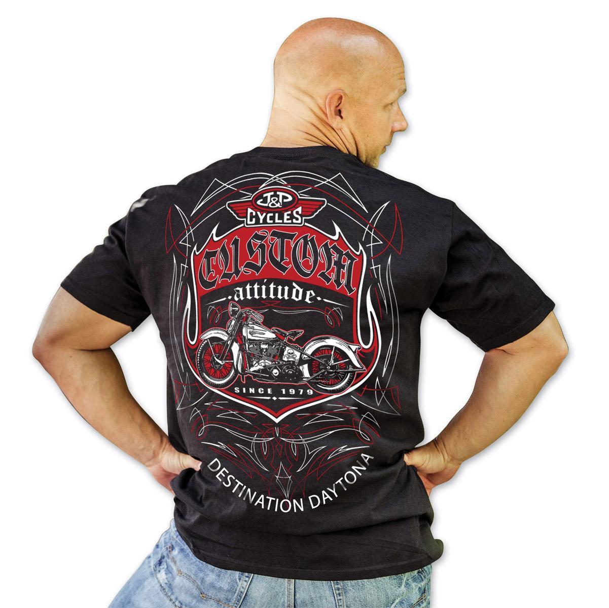 J&P Cycles® Daytona Pinstripe Black T-Shirt