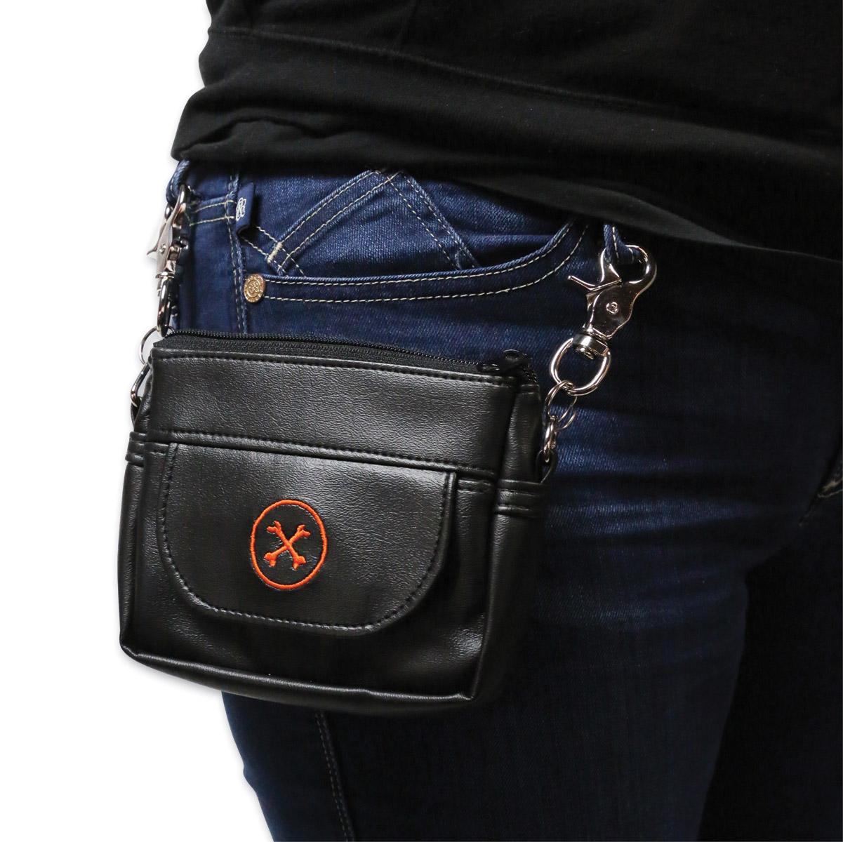 Bone Mountain Motor Gear Hipster Black Leather Bag w/Orange Logo