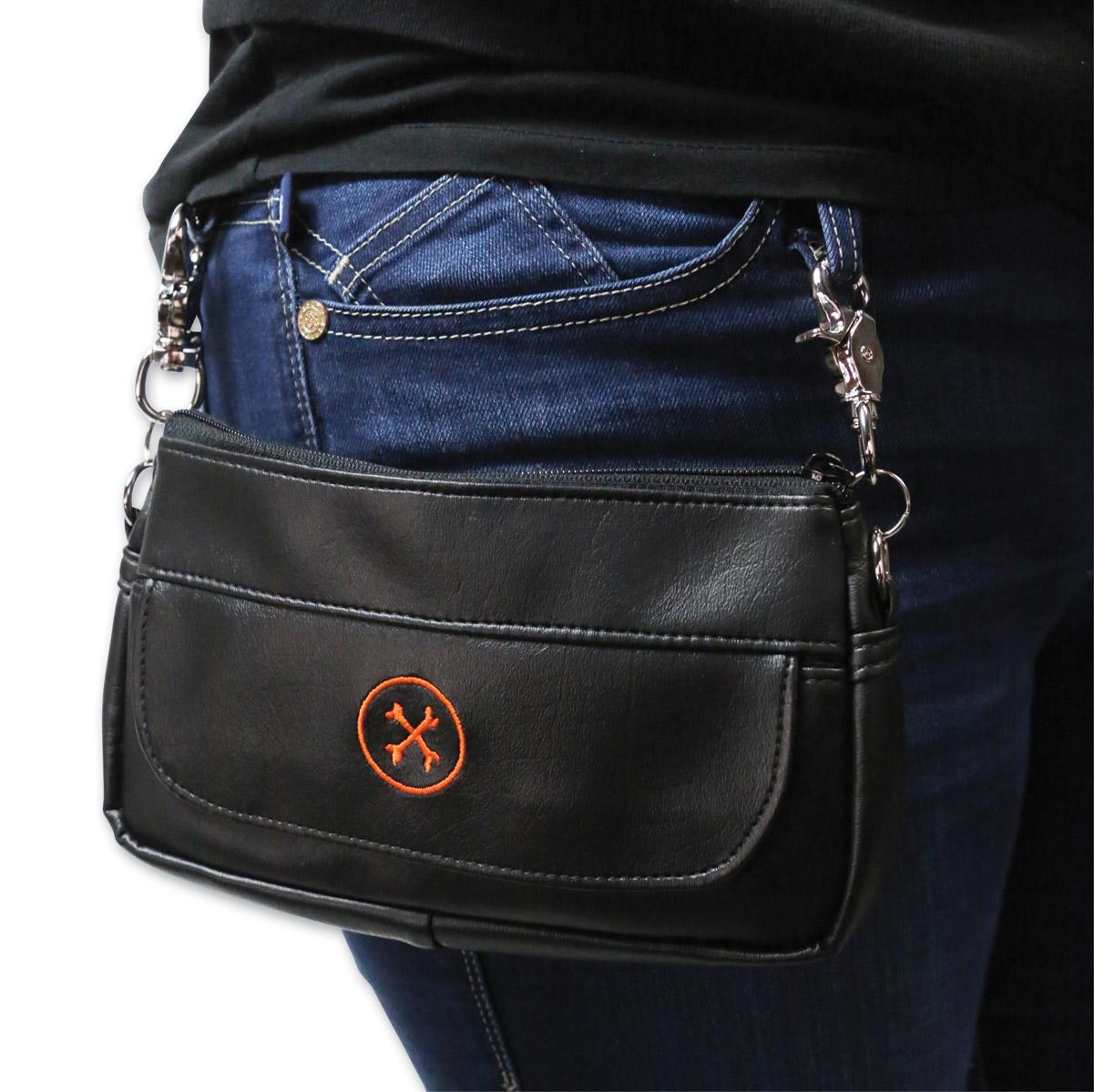 Bone Mountain Motor Gear Hipster II Black Leather Bag w/Orange Logo
