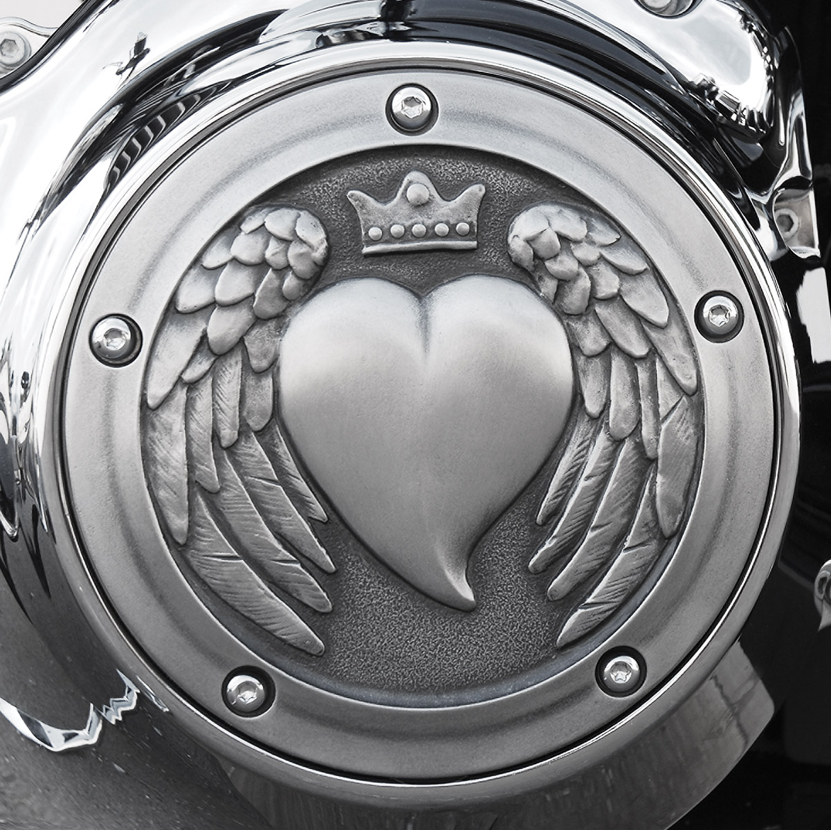 Chrome Dome Aged Heart Derby Cover