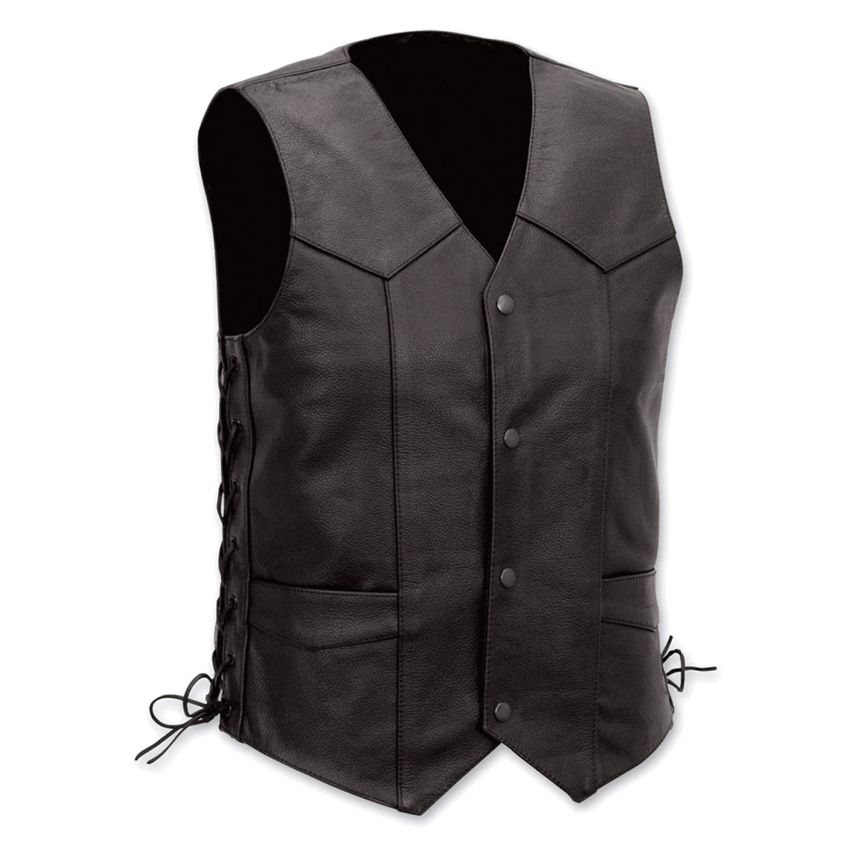 Vance Leathers Men's Lace Side Black Leather Vest