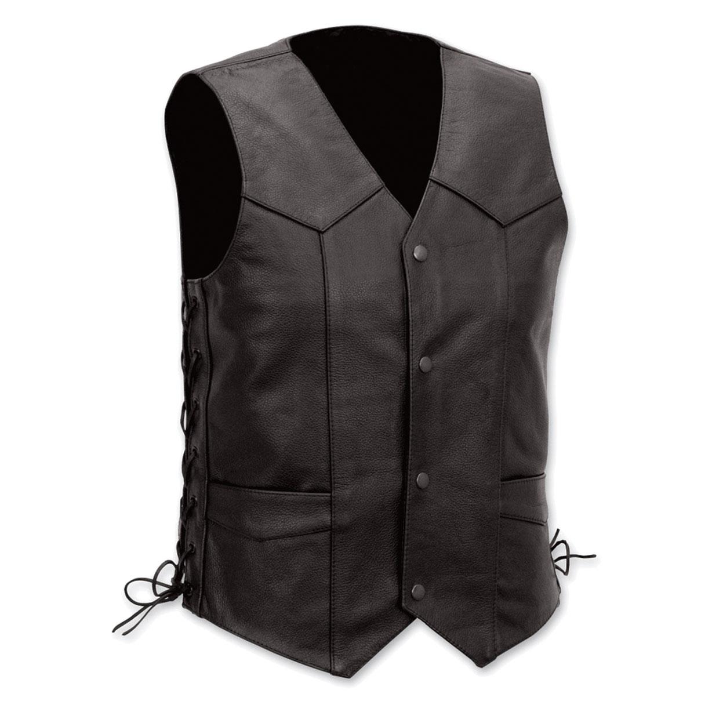 Vance Leathers Men's Lace Side Black Leather Vest