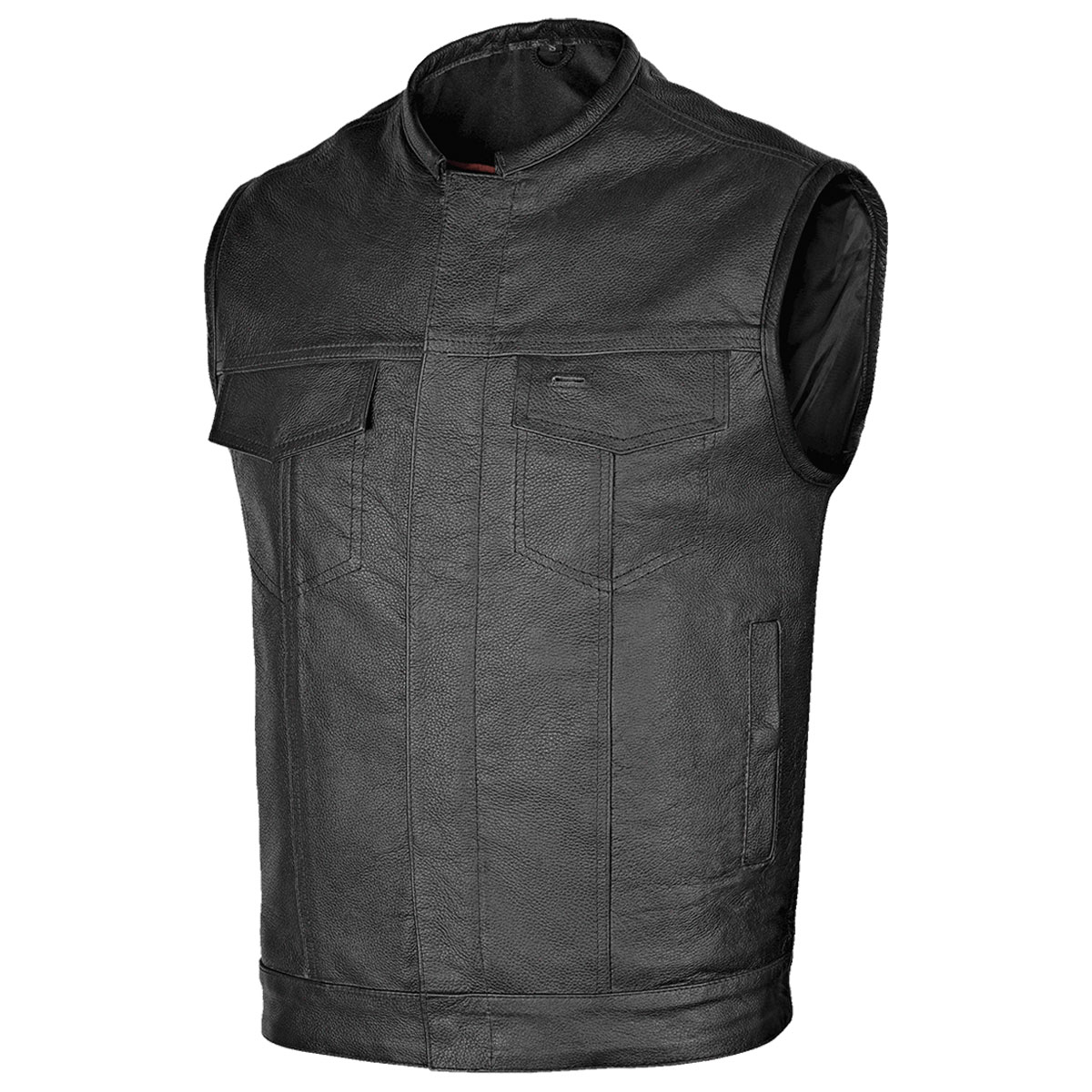 Vance Leathers Men's Collarless Club Black Leather Vest