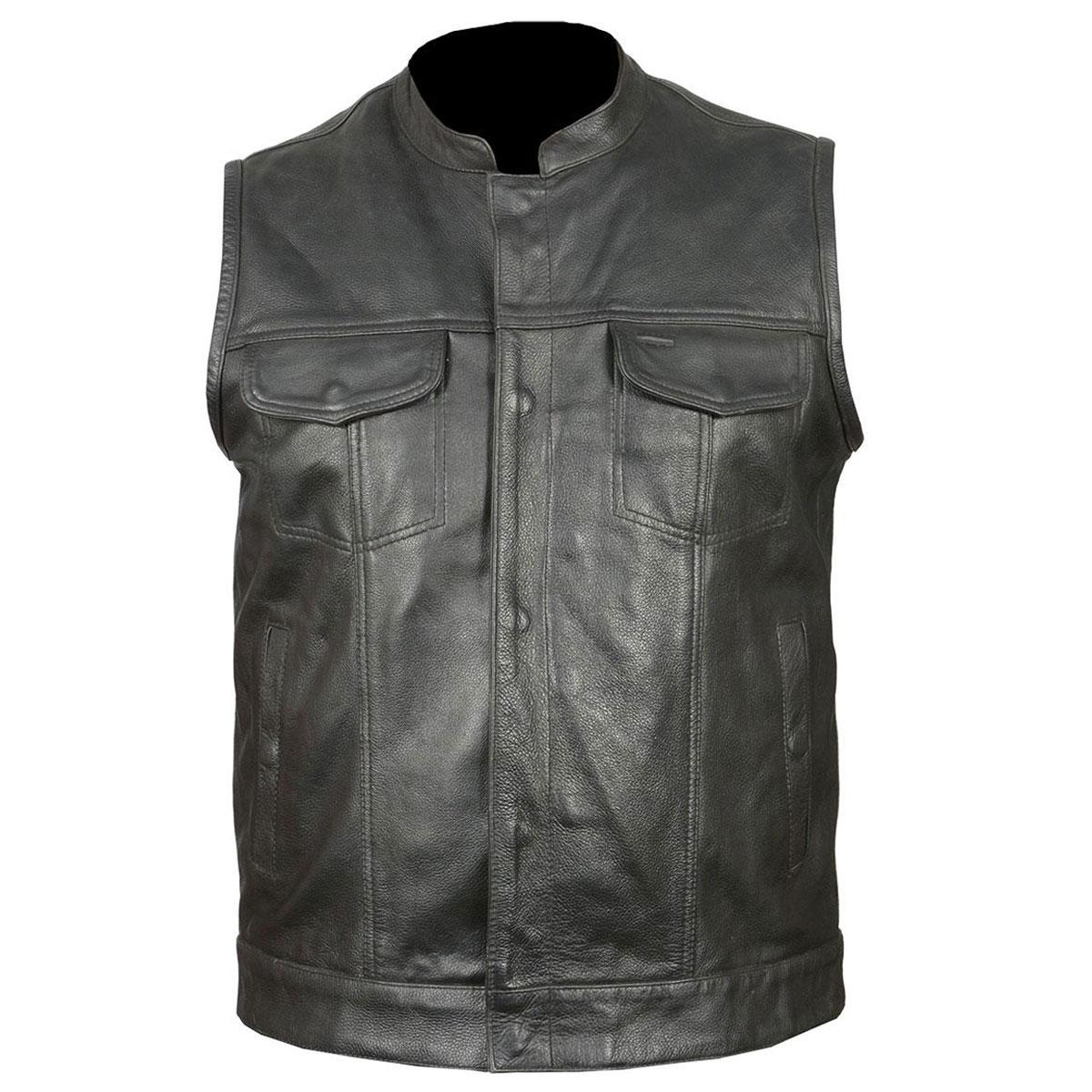 Vance Leathers Men's Classic Club Black Leather Vest