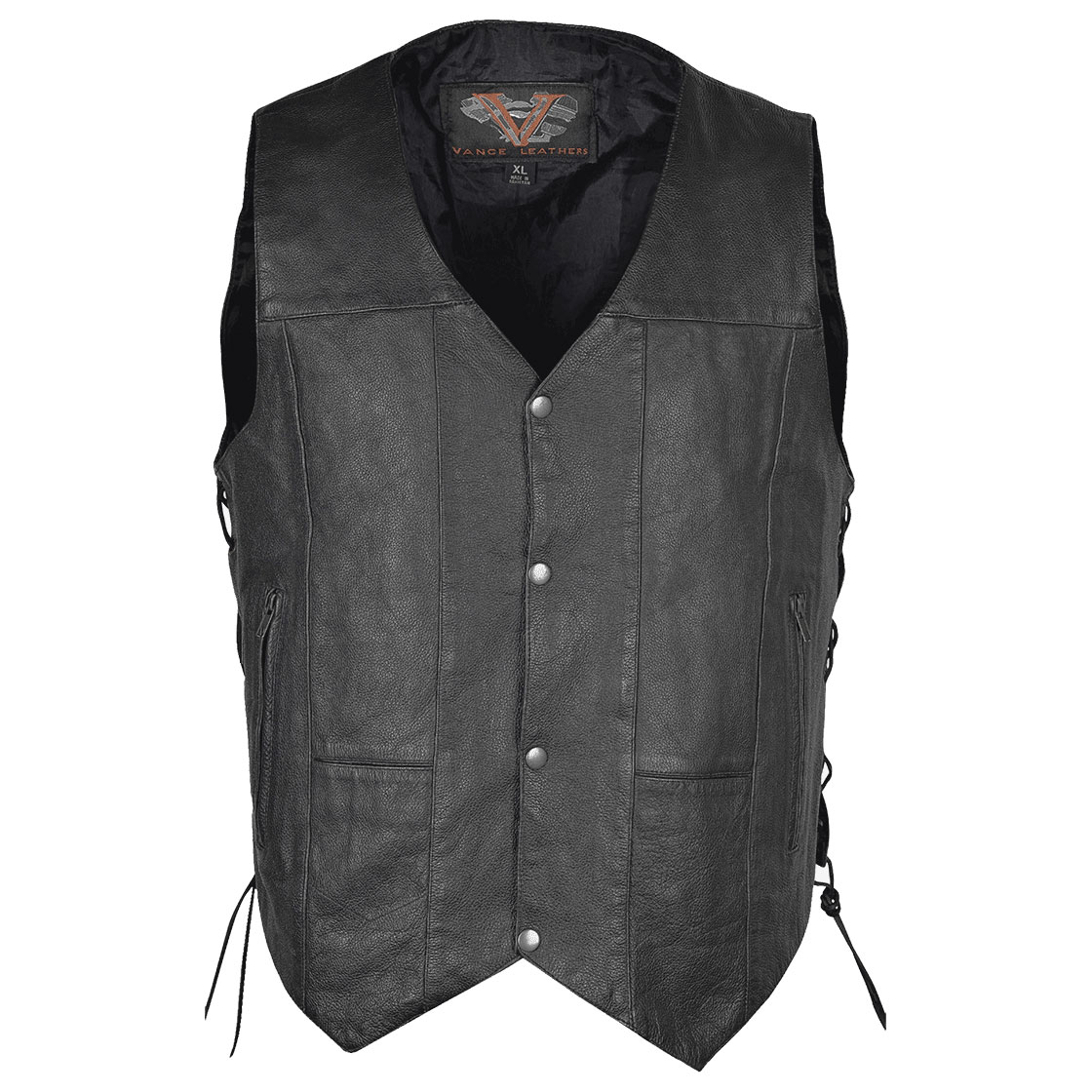 Vance Leathers Men's Ten Pocket Side Lace Black Leather Vest