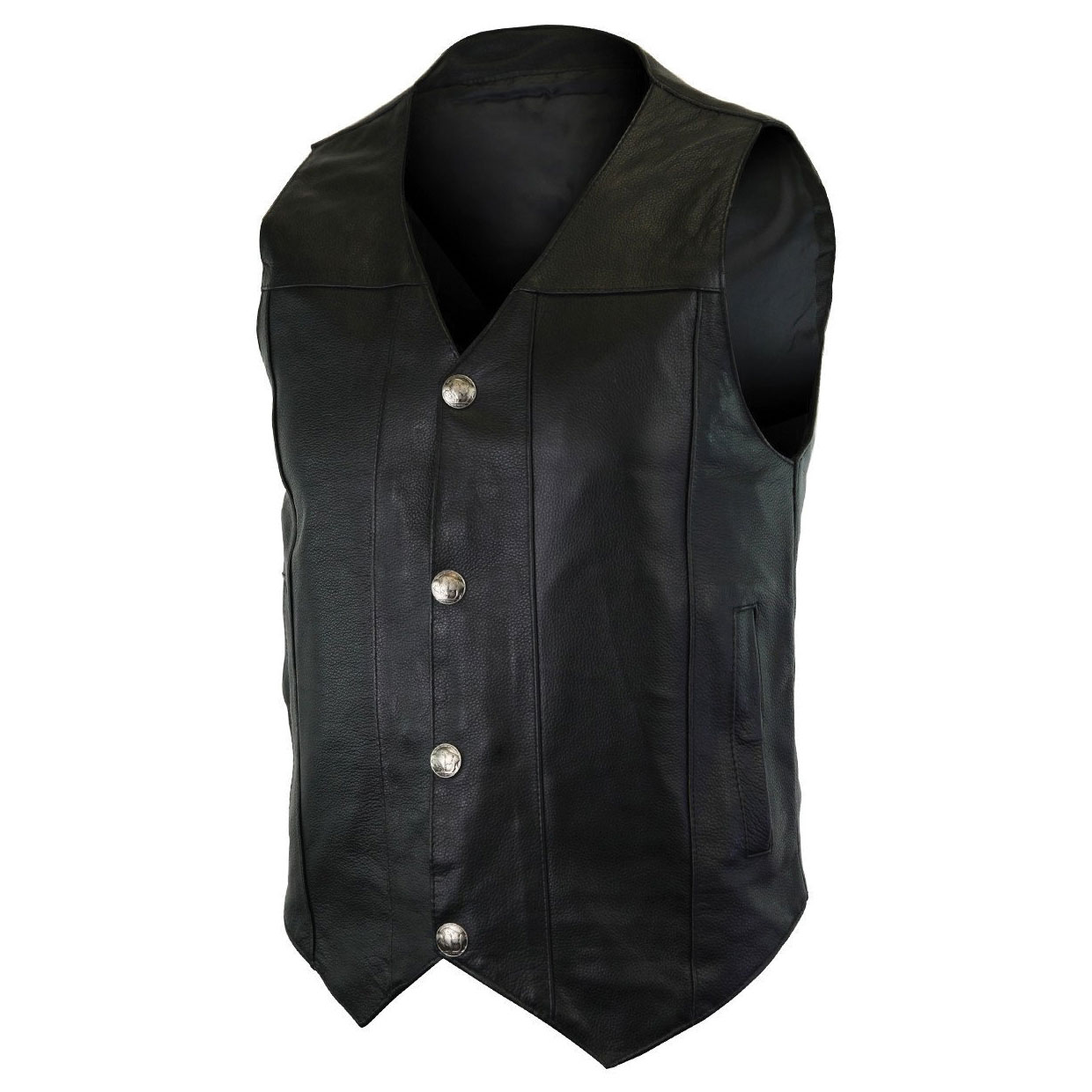 Vance Leathers Men's Buffalo Nickel Plain Side Black Leather Vest
