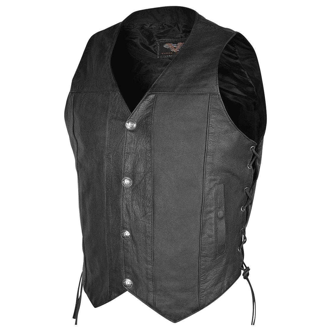 Vance Leathers Men's Buffalo Nickel Side Lace Black Leather Vest