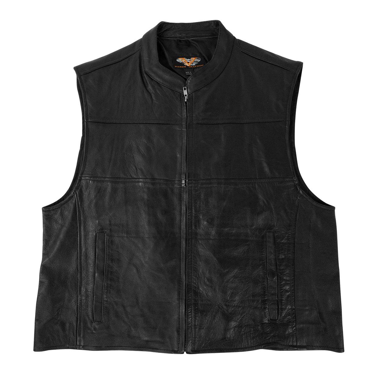 Vance Leathers Men's Zip Front Black Leather Vest