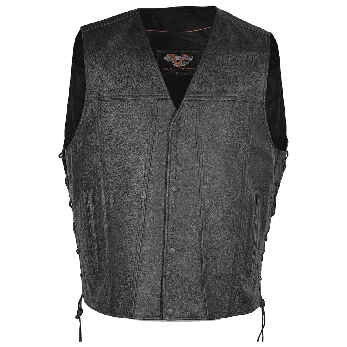 Vance Leathers Men's Gambler Black Leather Vest