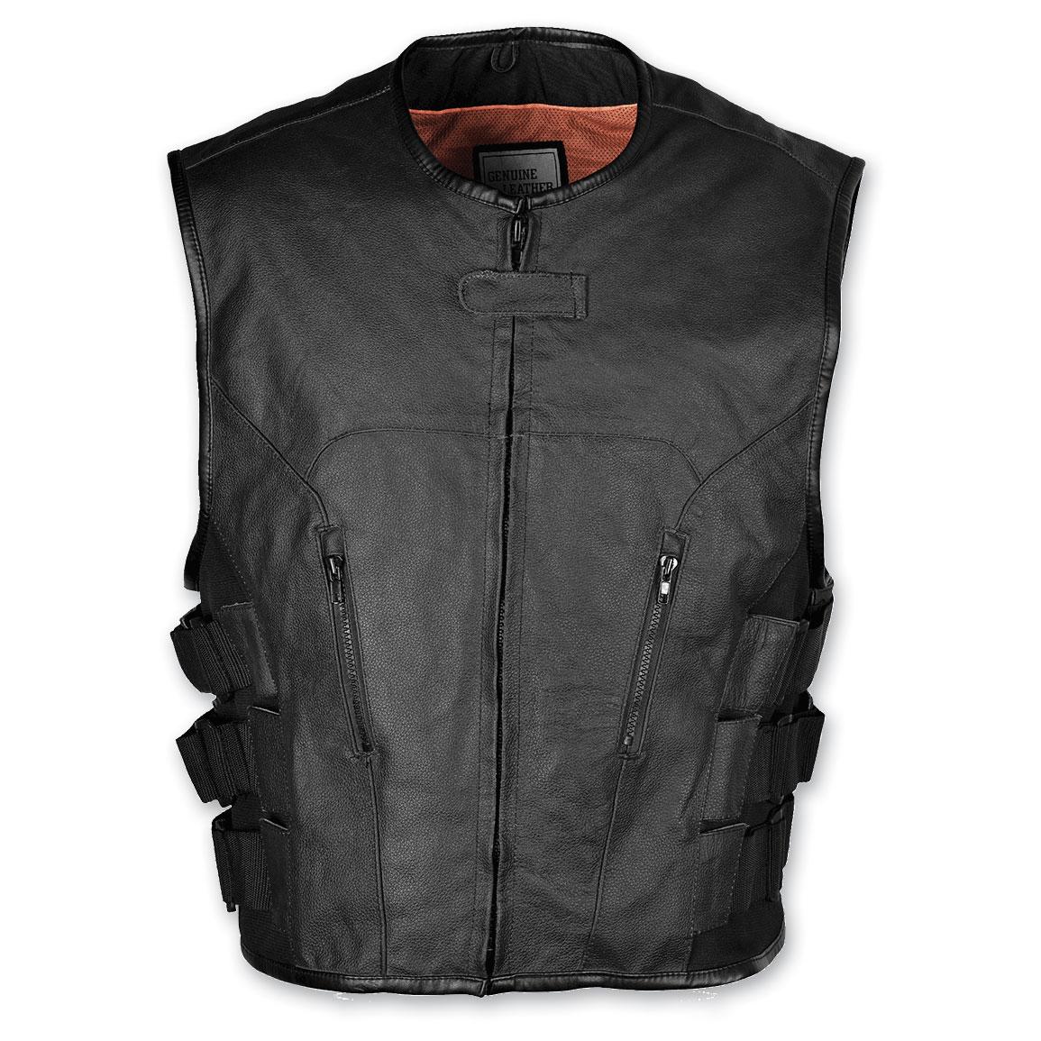 Vance Leathers Men's Tactical Style Black Leather Vest