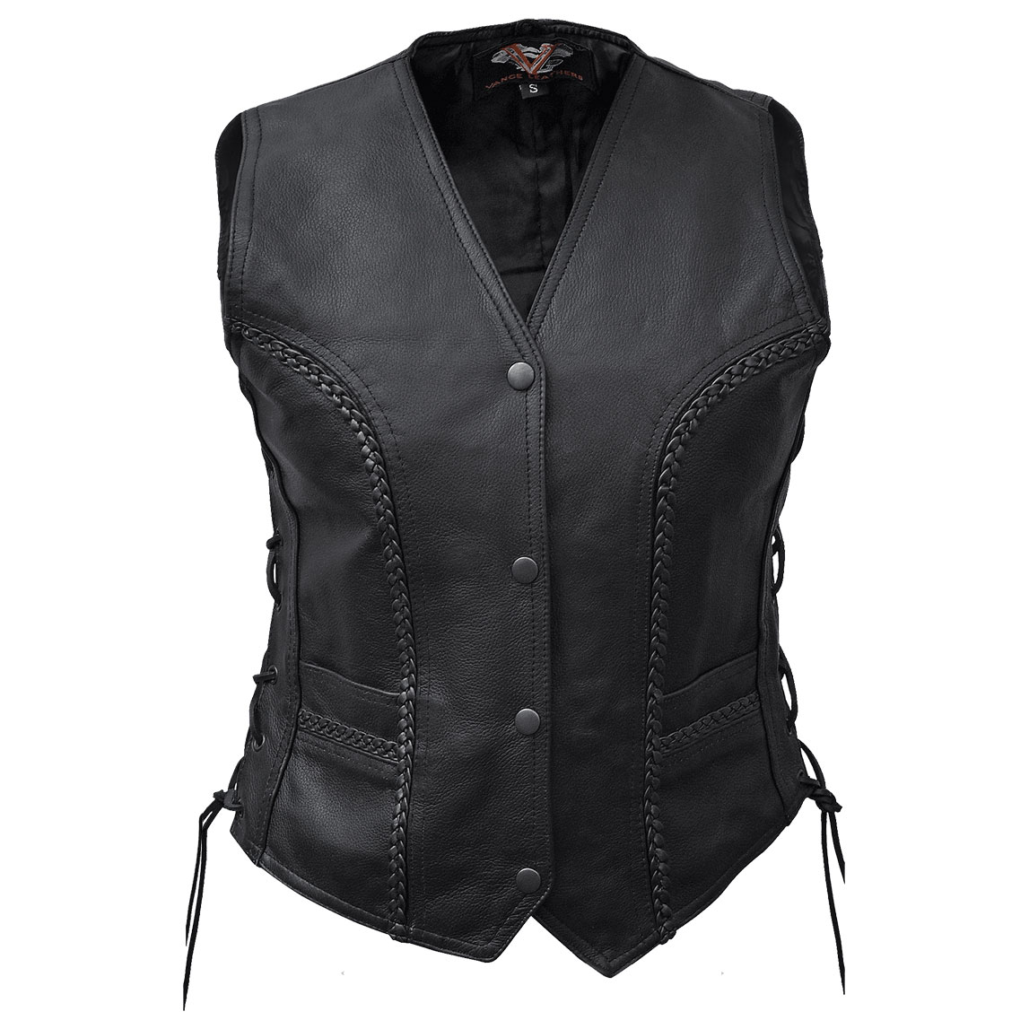 Vance Leathers Women's Side Lace Braided Black Leather Vest